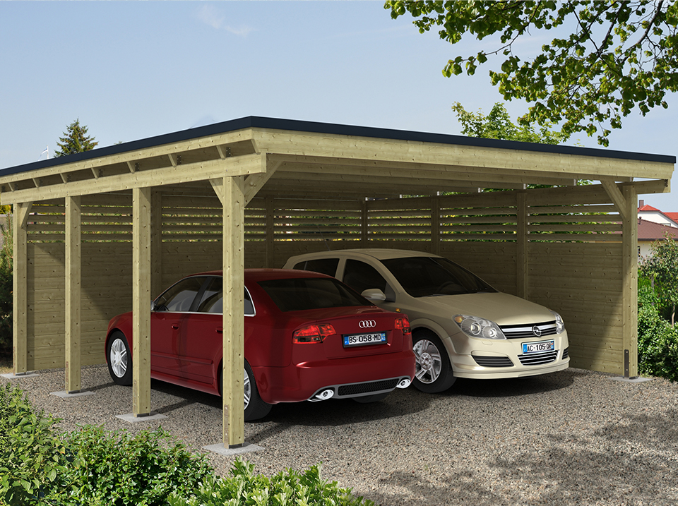 112 carport contemporain garages bois toit plat pr